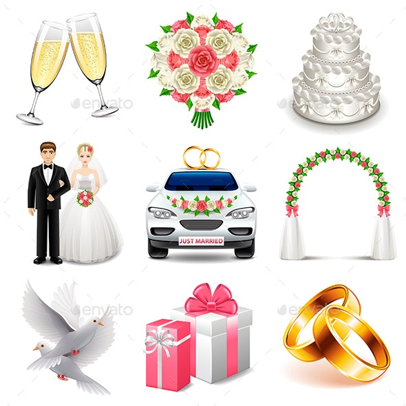 Wedding Icons Vector Set - Weddings Seasons/Holidays