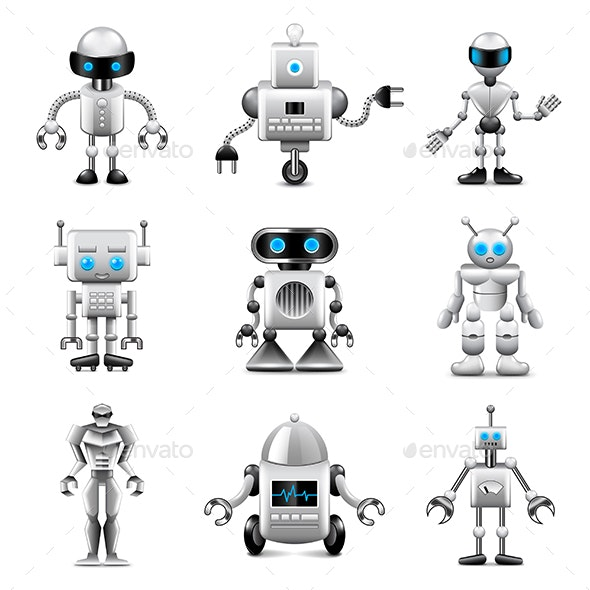 Robots Icons Vector Set - Computers Technology