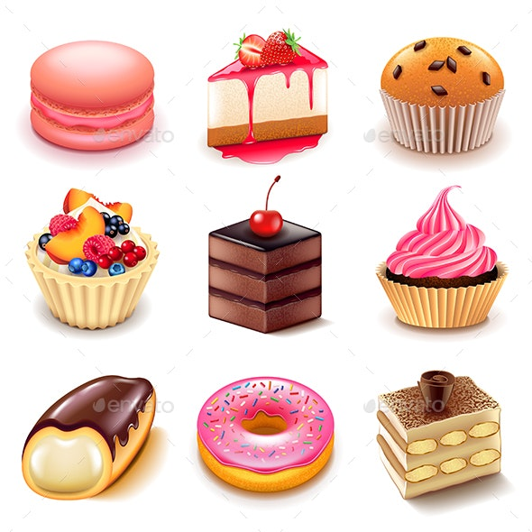 Cakes Icons Vector Set - Food Objects