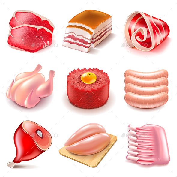 Raw Meat Icons Vector Set - Food Objects