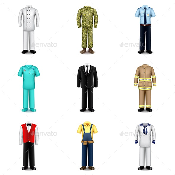 Professions Uniforms Icons Vector Set - Miscellaneous Vectors