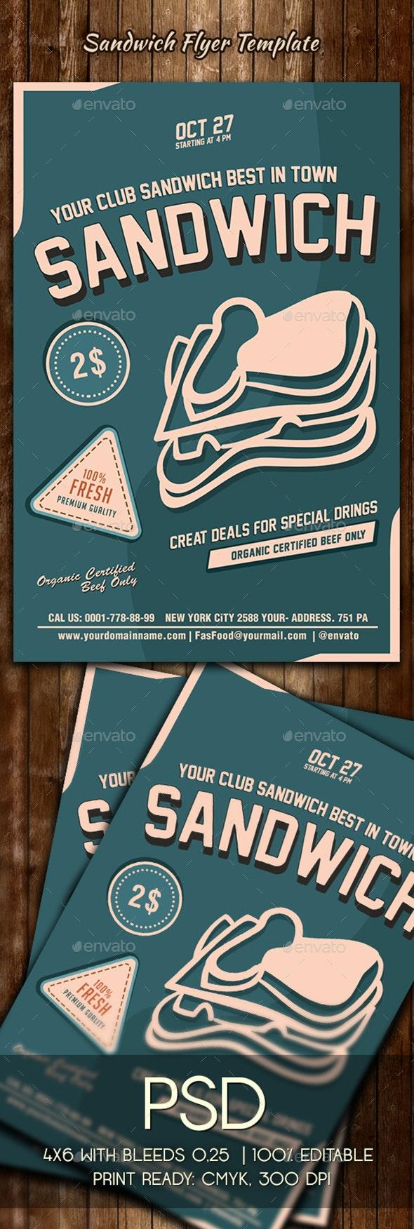 Sandwich Flyer Template - Restaurant Flyers