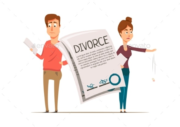 Divorce Agreement Couple Composition - People Characters