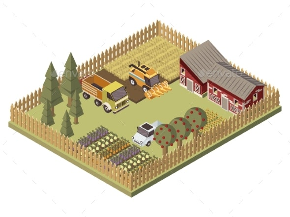 Farm Vehicles Isometric Design - Buildings Objects