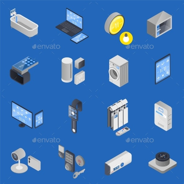 IOT Internet of Things Isometric Icon Set - Miscellaneous Vectors