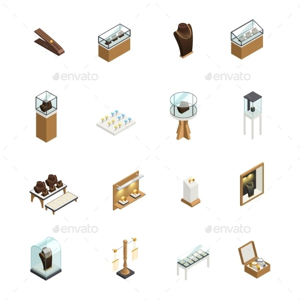 Jewelry Shop Isometric Elements - Man-made Objects Objects