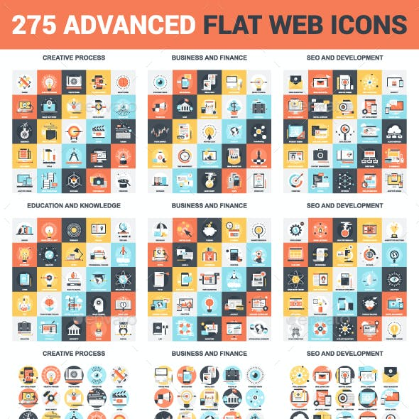 275 Advanced Flat Web Icons Bundle