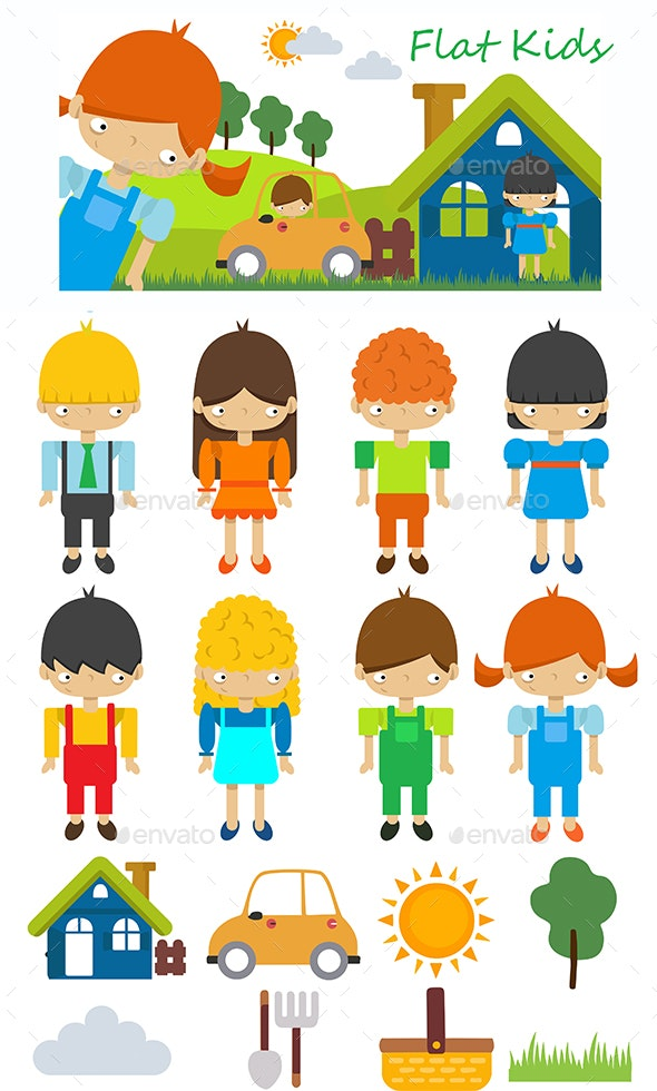 Flat Kids - People Characters