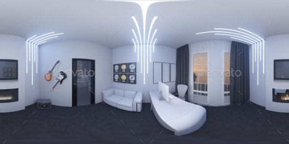 3d Illustration of a Home Office in a Space Style - 3D Renders Graphics