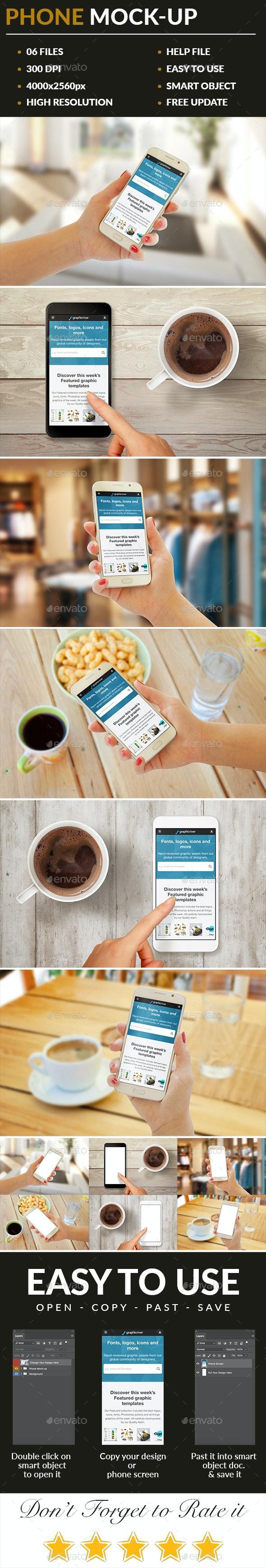 6 Phone Mock-Ups - Mobile Displays