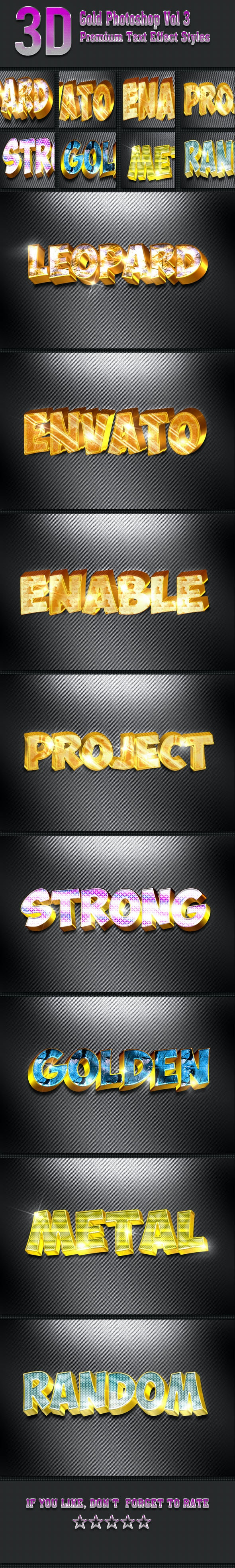 3D Gold Photoshop Vol 3 - Text Effects Styles