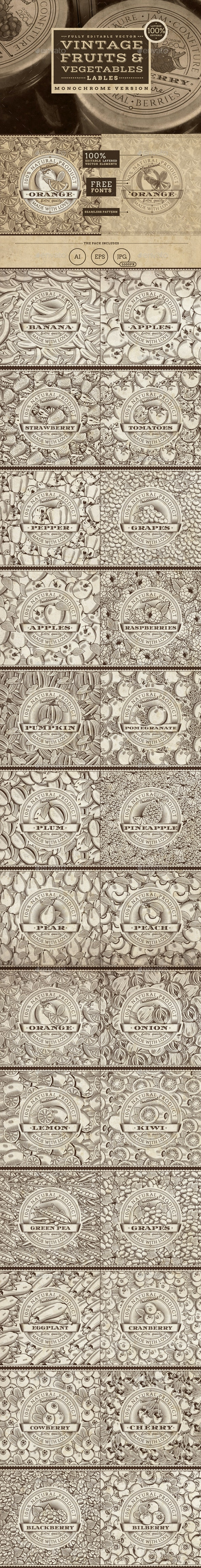 Vintage Fruits & Vegetables Labels - Organic Objects Objects