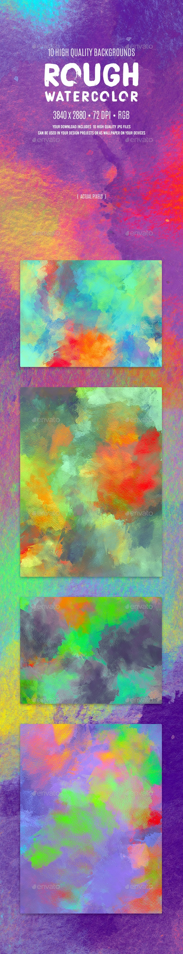 Rough Watercolor Backgrounds - Abstract Backgrounds