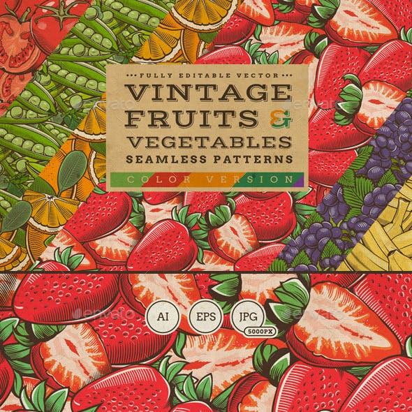 Fruits & Vegetables Vintage Seamless Patterns