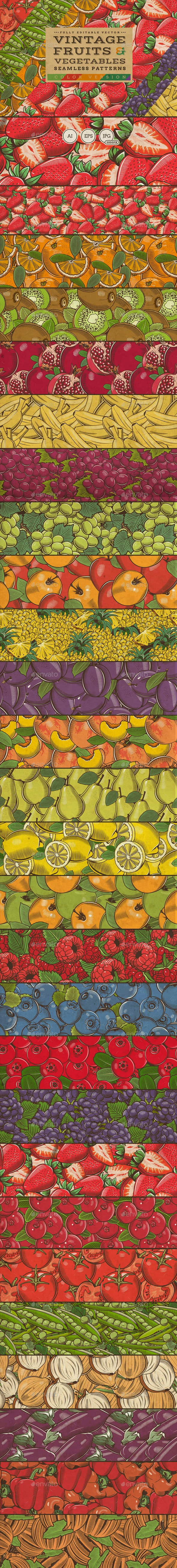 Fruits & Vegetables Vintage Seamless Patterns - Patterns Decorative