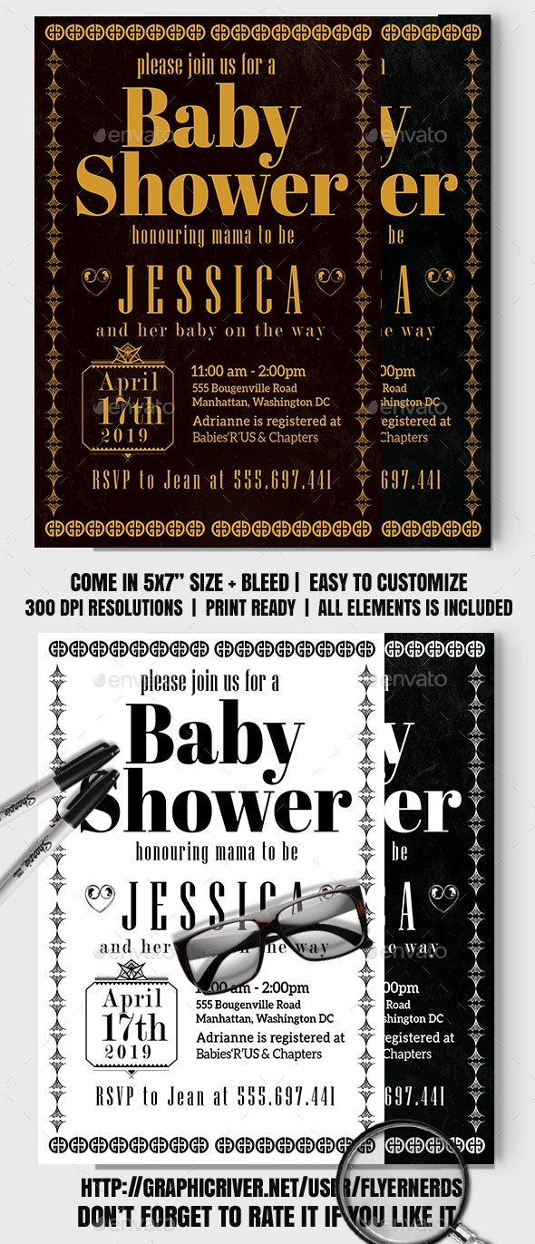 Art Deco Vintage Baby Shower Card - Family Cards & Invites