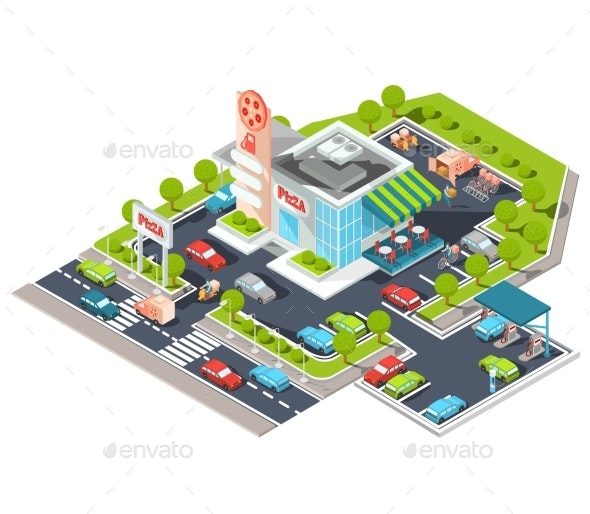 Vector Isometric Illustration of a Modern Italian - Buildings Objects