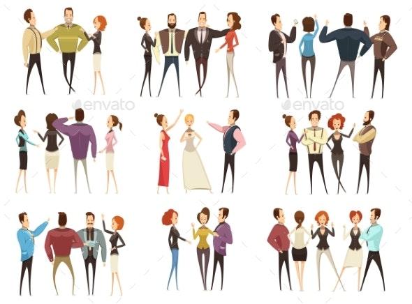 Business Teams Cartoon Style Set - People Characters