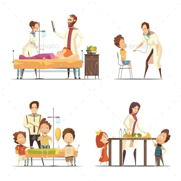 Childrens Hospital 4 Cartoon Icons Set