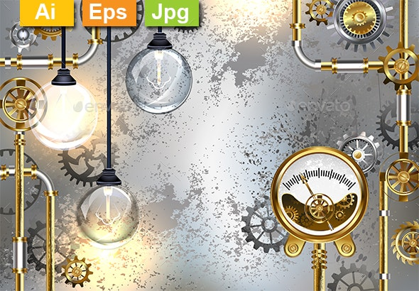 Industrial Background with Manometer and Electric Lamp - Backgrounds Decorative