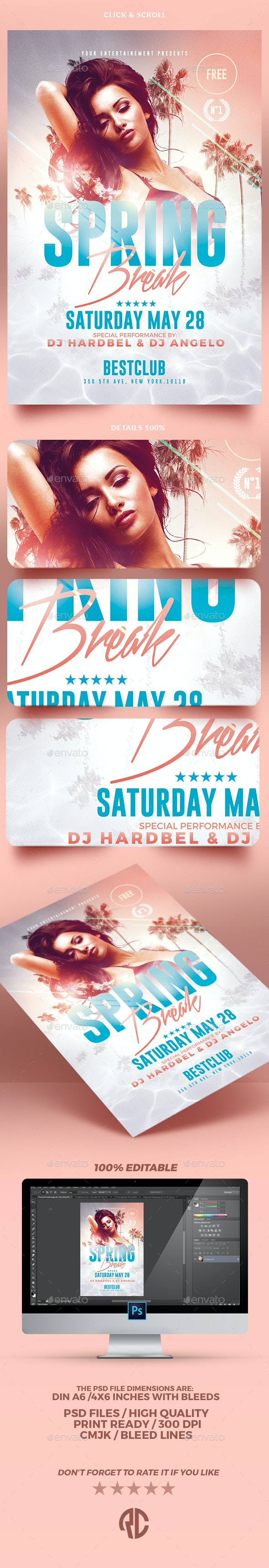 Spring Break | Psd Flyer Template - Clubs & Parties Events