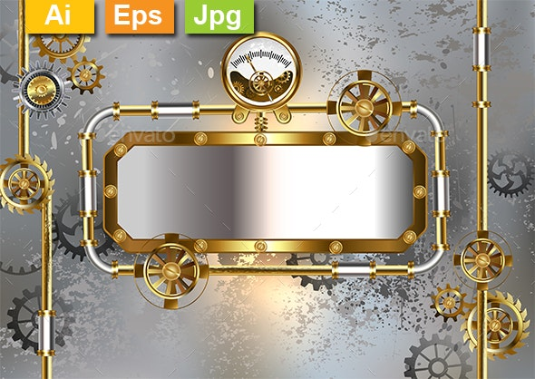 Industrial Banner with Manometer - Backgrounds Decorative