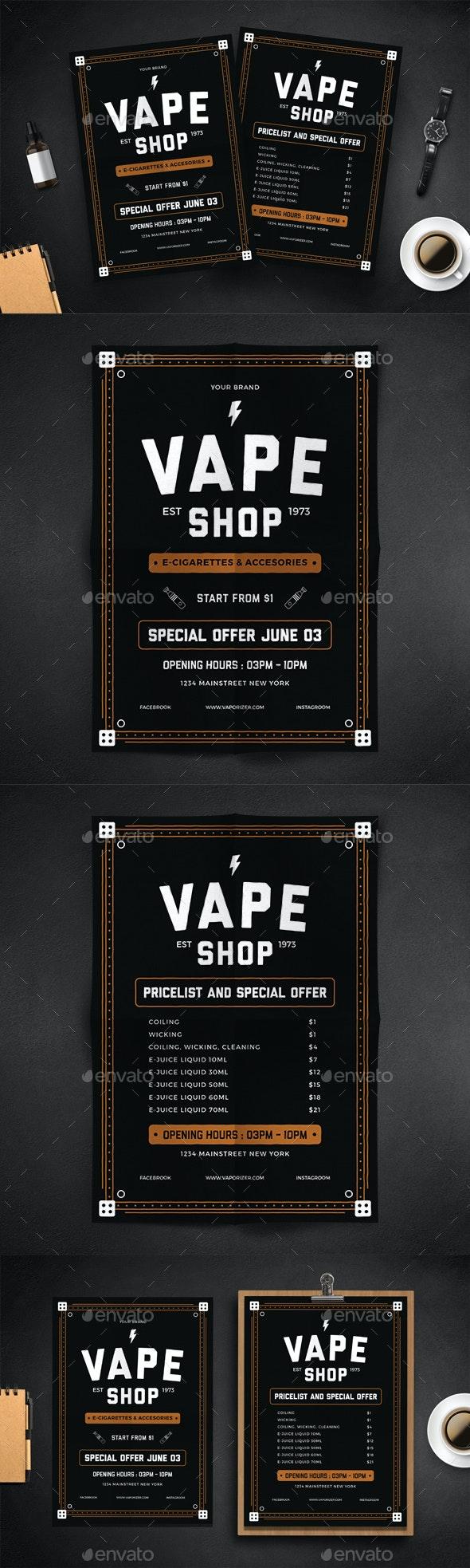 Vape Shop Flyer Menu - Events Flyers