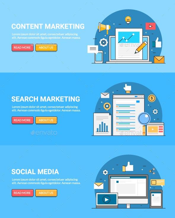 Digital Marketing Banners - Web Elements Vectors