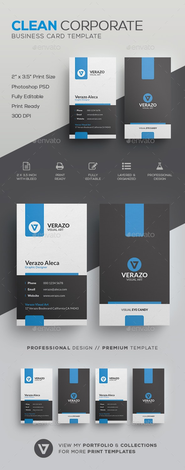 Clean Corporate Business Card Template - Corporate Business Cards