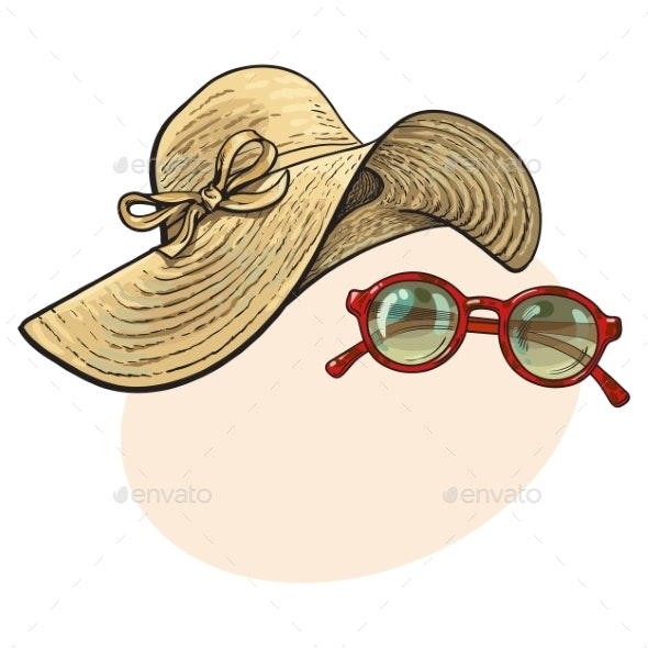 Straw Hat with Wide Flaps and Sunglasses in Red - Miscellaneous Vectors