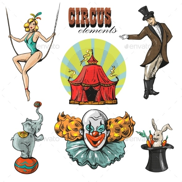 Vintage Hipster Circus Collection with Carnival - People Characters