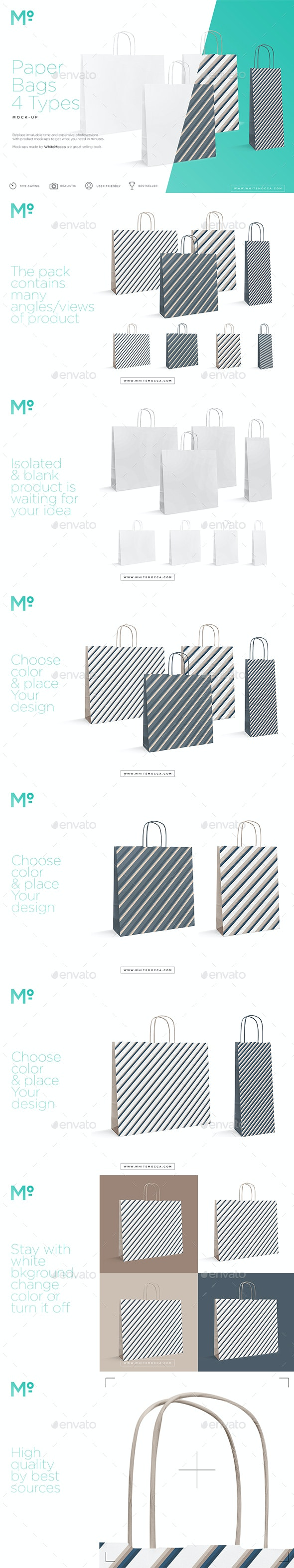 Paper Bags 4 Types Mock-up - Miscellaneous Product Mock-Ups