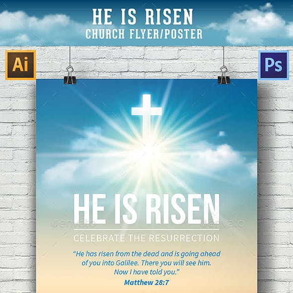 He Is Risen Template for Church Flyer / Poster