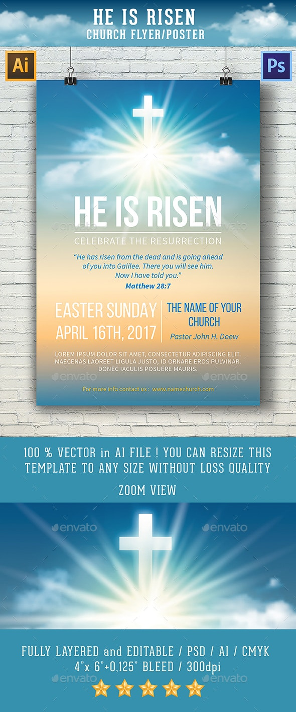 He Is Risen Template for Church Flyer / Poster - Church Flyers