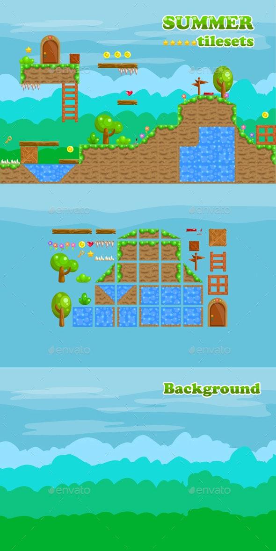 Platformer Tileset for Summer 2D Game - Tilesets Game Assets