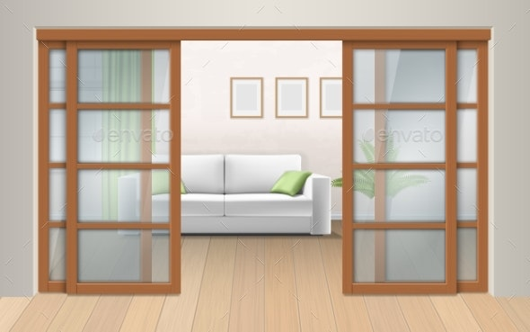 Living Room Interior with Sliding Doors - Man-made Objects Objects