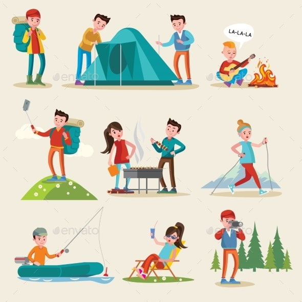 Backpacking and Camping Tourism Set - People Characters