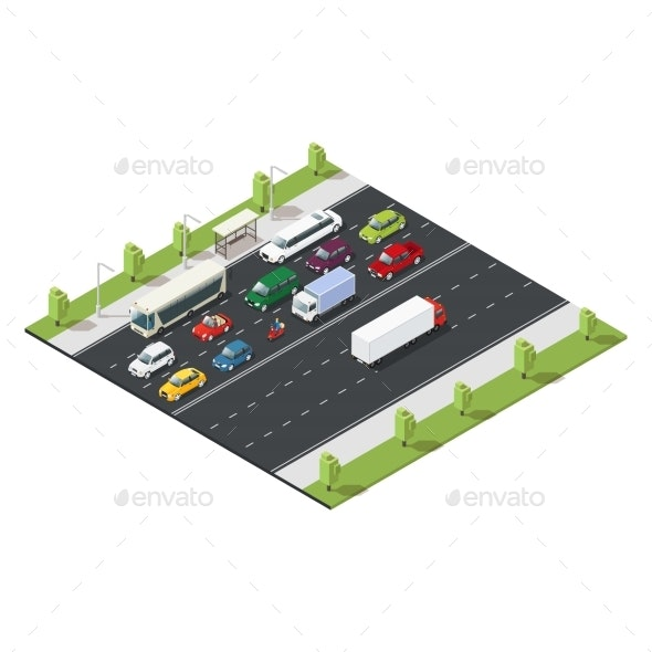 Isometric Urban Traffic Template - Man-made Objects Objects