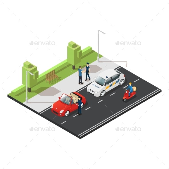 Colorful Isometric Traffic Concept - Man-made Objects Objects