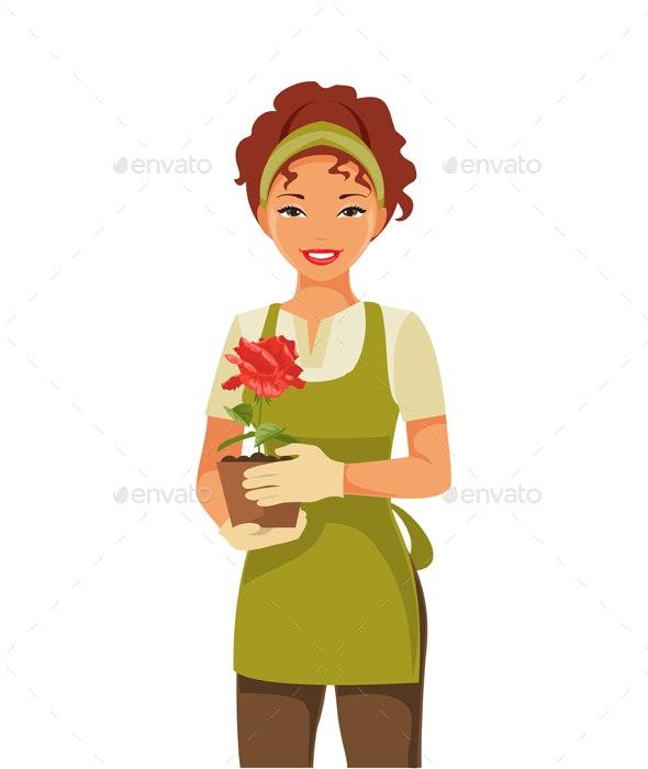 Woman Gardener - People Characters