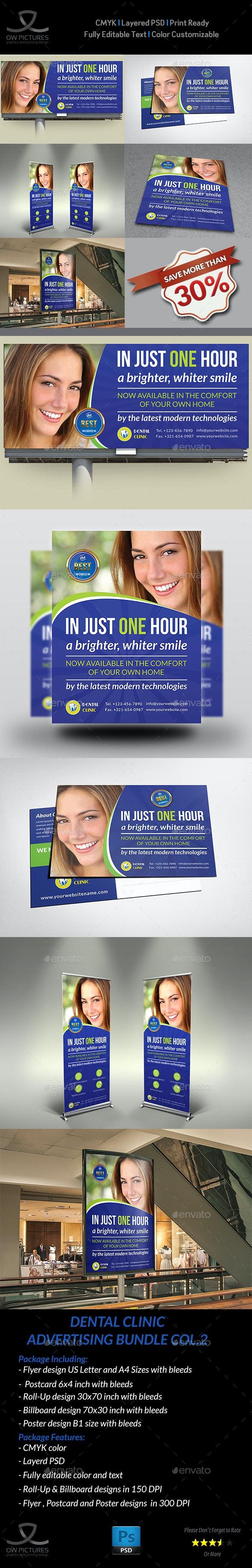 Dental Clinic Advertising Bundle Vol.2 - Signage Print Templates