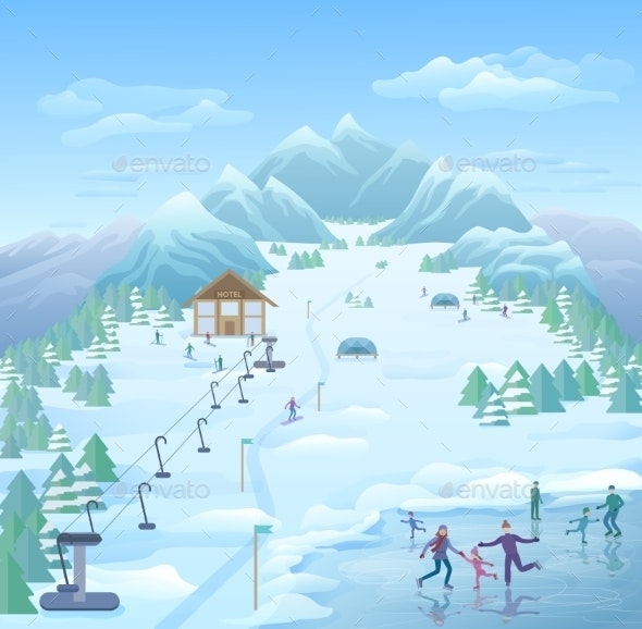 Winter Recreational Park Template - Sports/Activity Conceptual