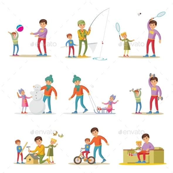 Fatherhood Elements Set - Sports/Activity Conceptual