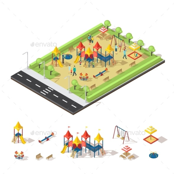 Child Playground Isometric Concept - Sports/Activity Conceptual