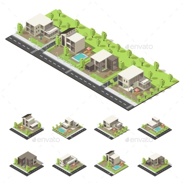 Isometric Suburban Buildings Composition - Buildings Objects