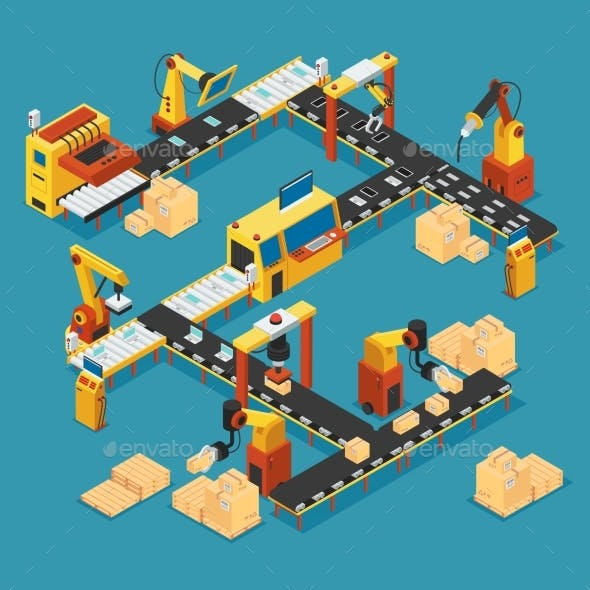 Isometric Industrial Factory Template