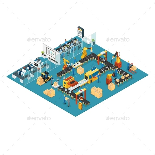 Isometric Industrial Factory Concept - Industries Business