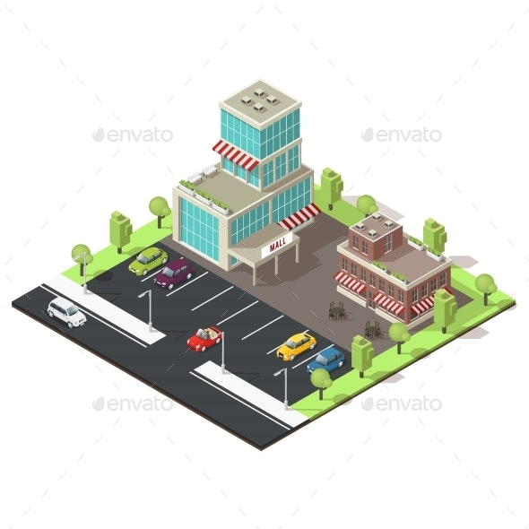 Isometric Shopping Center Template - Buildings Objects