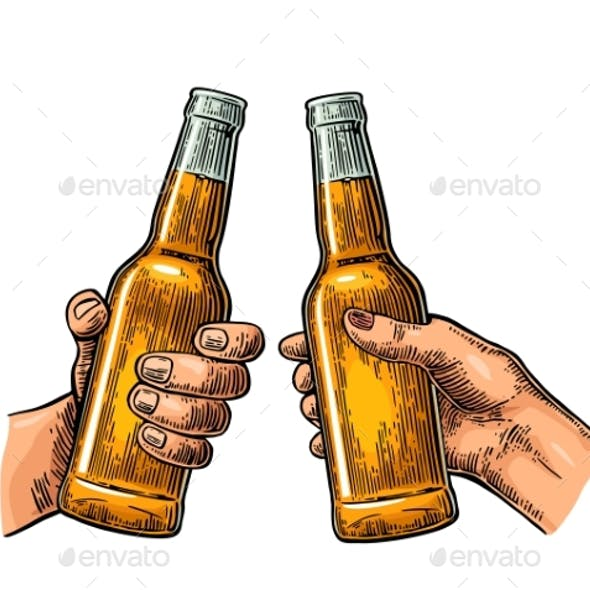Female and Male Hands Holding and Clinking Drink