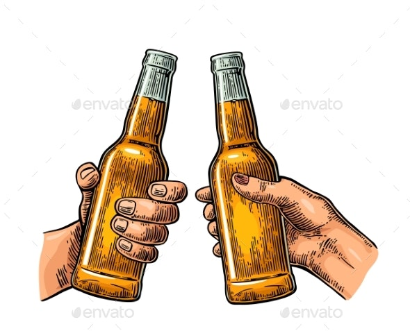 Female and Male Hands Holding and Clinking Drink - Food Objects